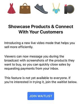 facebook live video shopping