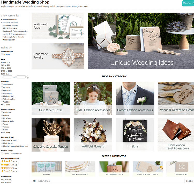 amazon handmade weddings