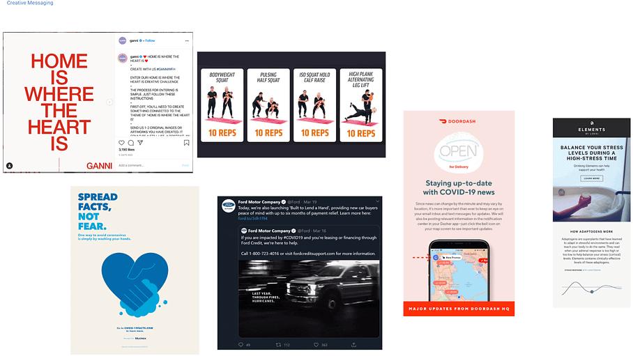 coronavirus messaging examples from brands