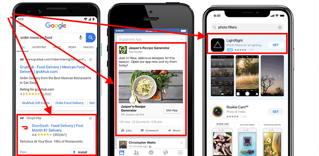 mobile app marketing app install ads on google, facebook, and apple app store