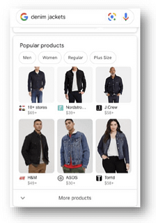 mobile search for popular products denim jackets