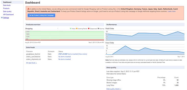 Google data feed quality