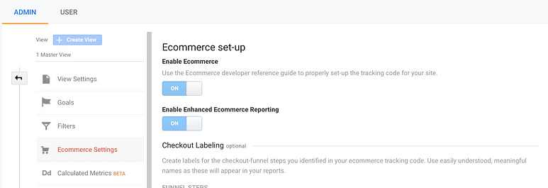 enable ecommerce tracking in analytics