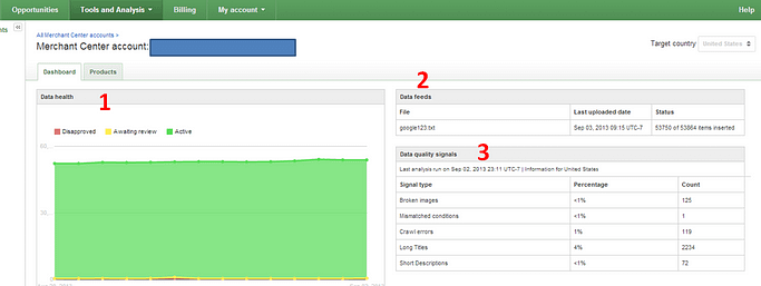 Data feed approval in the Google merchant login