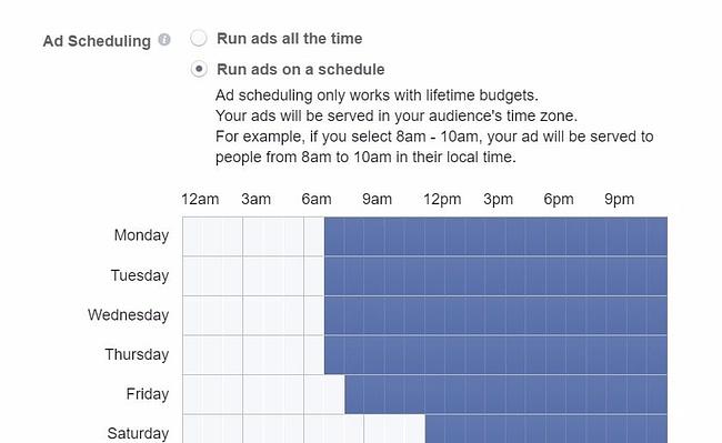scheduling facebook ads
