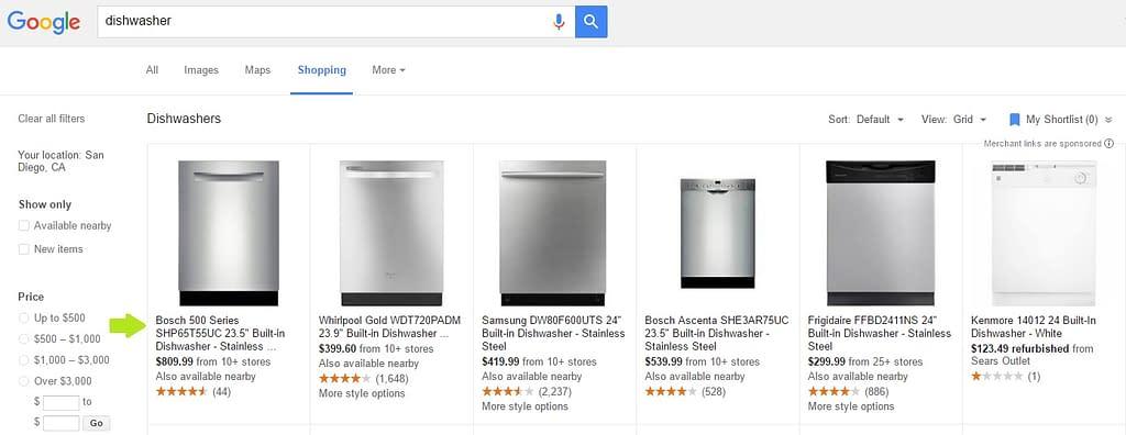 google shopping search term