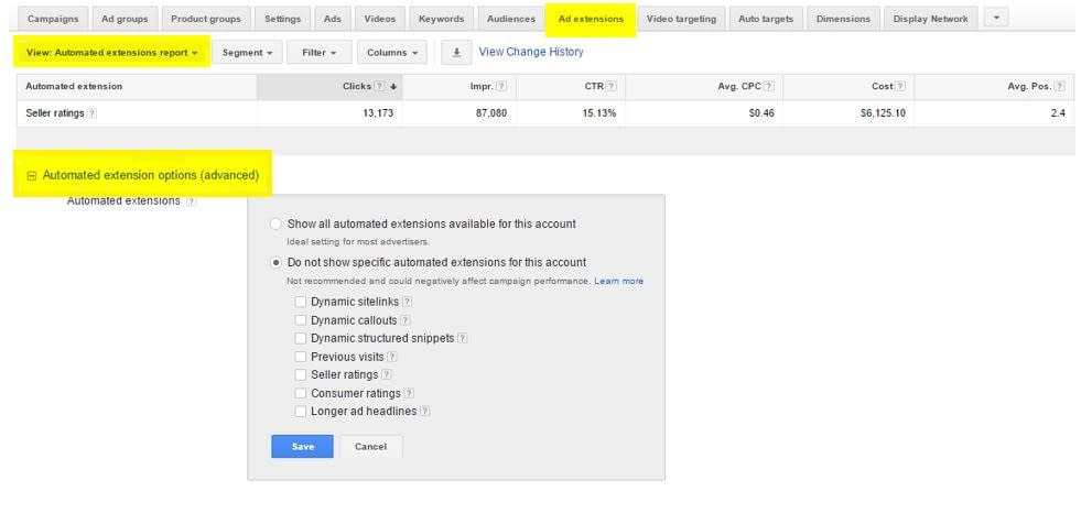 adwords automated extension report