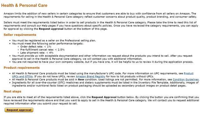 amazon health and personal care requirements