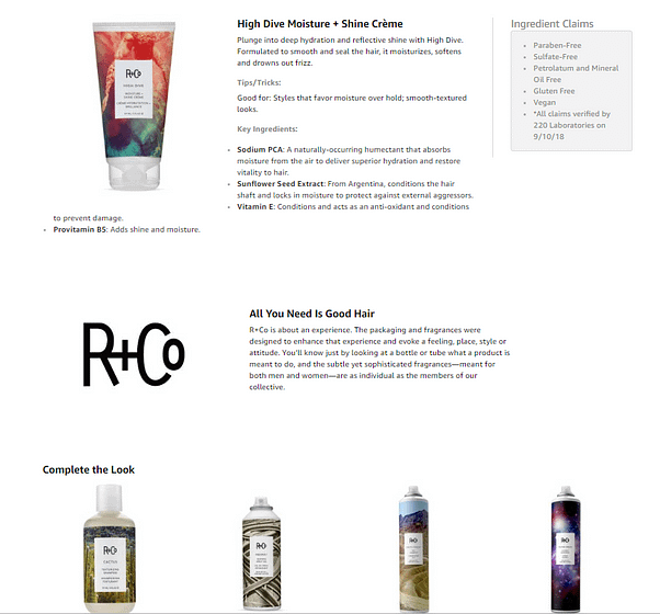 product experience page R+co