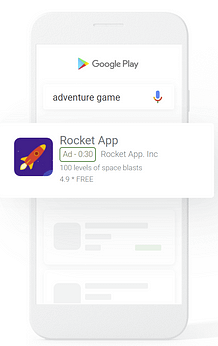 picture of a google app campaign (formerly google universal app campaigns) showing in the google play store