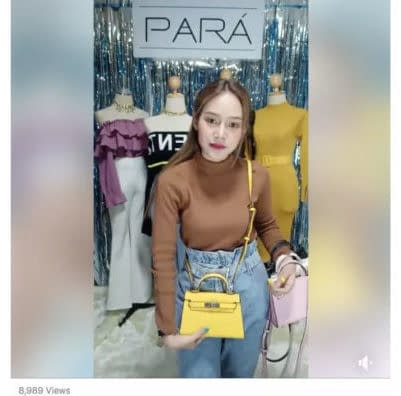 facebook live shopping example from thailand girl selling purses
