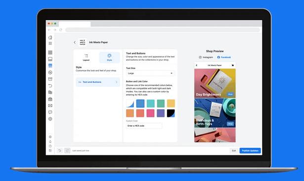 facebook shops creation on desktop