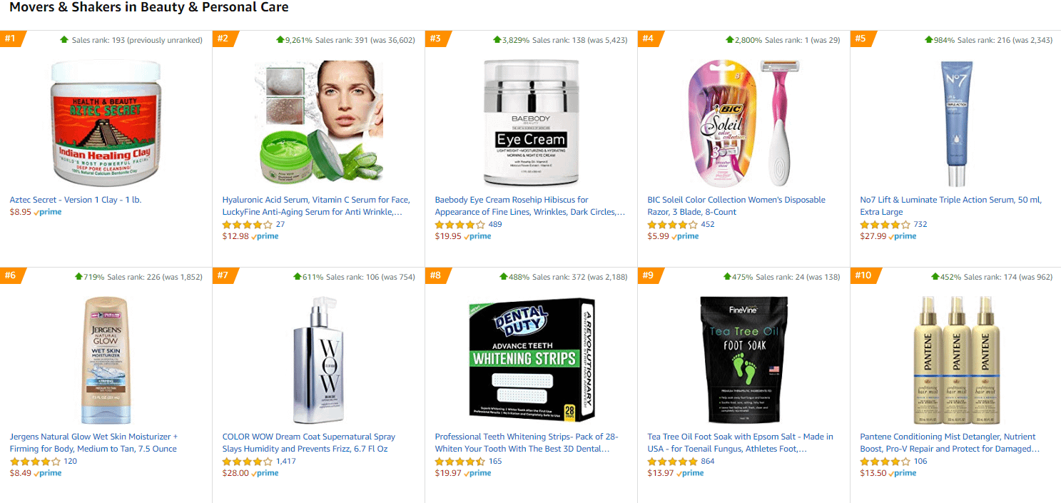 amazon beauty movers and shakers fastest growing products