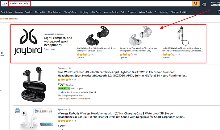 amazon sponsored brands ads for wireless earbuds