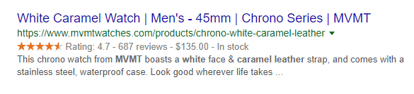 white caramel google result for mvmt watches title modifiers