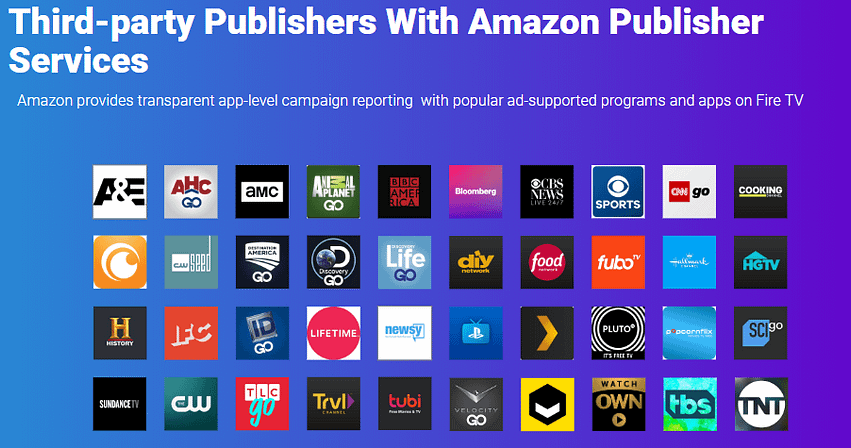 image showing amazons publisher network of fire tv apps