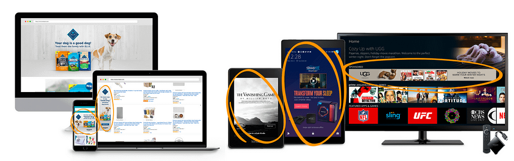 amazon sponsored display ads placements example on amazon and on third party websites