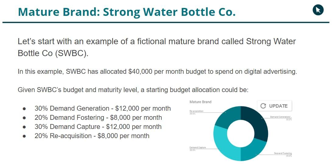 mature digital brand water bottle co budget allocation