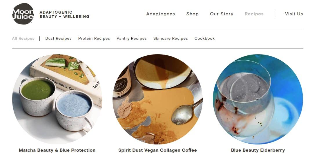 moon juice recipes content on ecommerce website
