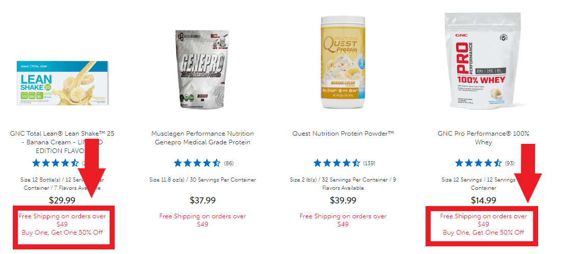 gnc discounts and free shipping to raise aov average order value