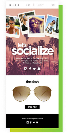 case study of diff eyewears email list growth with picture of example email