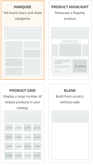 store templates amazon
