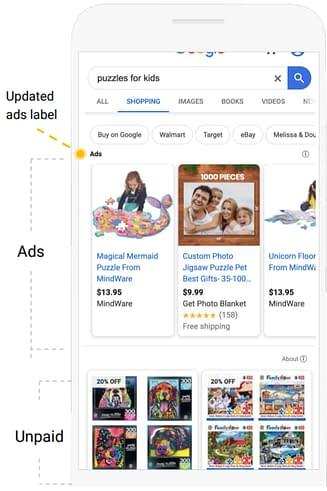 unpaid product listings google shopping