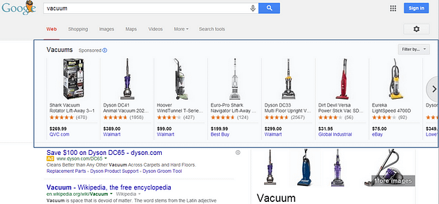 Google Shopping products in Carousel