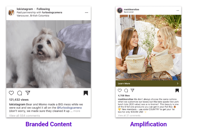 branded vs amplification influencer content new