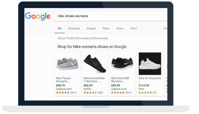 Google shopping ads on desktop browser