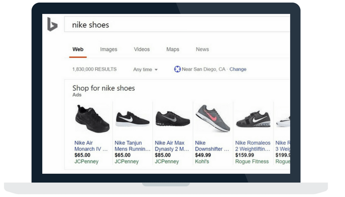 bing shopping product listing on desktop browser