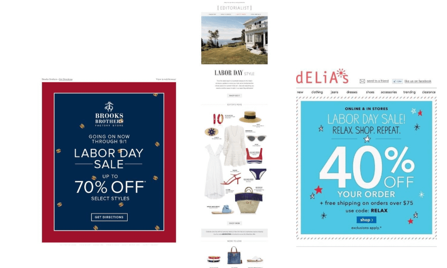 labor day email promotions