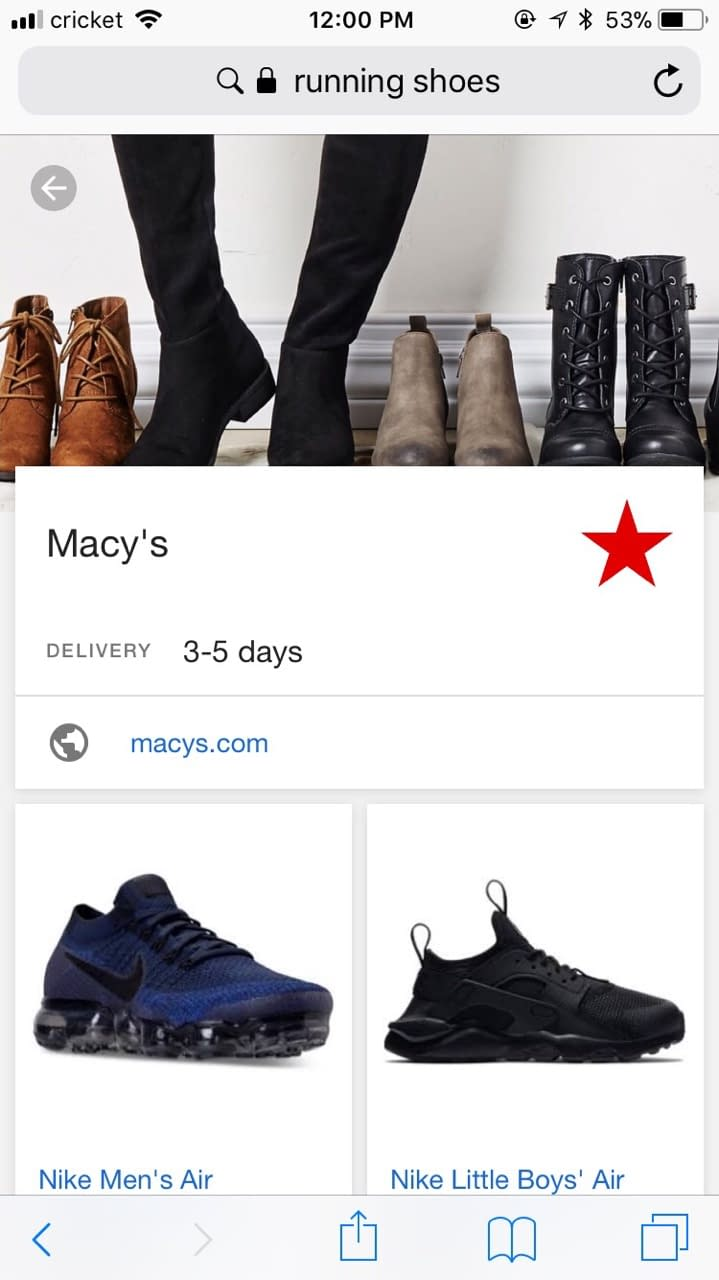Google-hosted landing page featuring running shoes