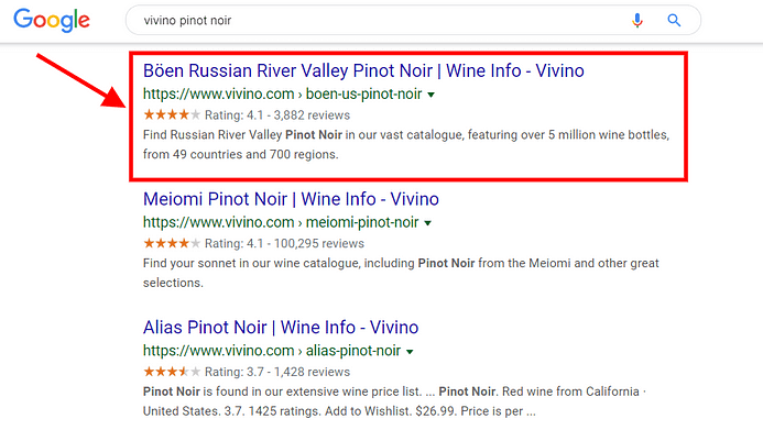 review ratings snippet for vivino wine